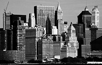 Skyline of Lower Manhattan with Battery Park on the foreground, New York City, USA
