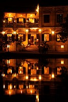 Asia, Vietnam, Hoi An  Hoi An old quarter  View across the Thu Bon river onto the beautiful Bach Dang river promenade with it´s romantic Hoa Anh Dao S...