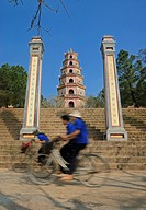 Asia, Vietnam, Hue  Thap Phuoc Duyen Source of Happiness Tower at Thien Mu Heavenly Lady Pagoda  Designated a UNESCO World Heritage Site in 1993, Hue ...