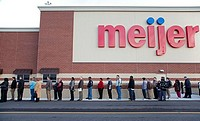 Rochester Hills, Michigan - Unemployed residents of the Detroit area lined up to apply for 200 jobs at a new Meijer store