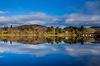Scotland, Scottish Highlands, Cairngorms National Park  Mirror like reflections upon Loch Insh near Kincraig