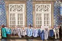 laundry hanging from window ,typical quarter of Ribeira, Porto, Portugal