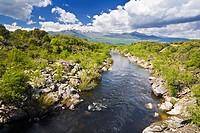 Tietar river and Sierra de Gredos, Candeleda, Avila province, Castilla-Leon, Spain