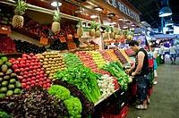 Fresh Fruit ang Vegetable shop the market of La Boqueria in las Ramblas of Barcelona, Spain