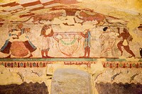 europe, italy, lazio, tarquinia, necropolis of monte calvario, tomb of the lioness, around 520 BC