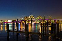 MacArthur Causeway and Biscayne Bay at dusk, Miami, Florida, USA