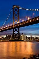Bay Bridge and San Francisco at night, California, USA