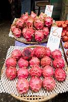 Jordan fruit market YAU MA TEI HONG KONG Street fruit market fresh fruit display of Dragon fruit