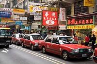TSIM SHA TSUI HONG KONG Line of Red Taxis in Haiphong Road