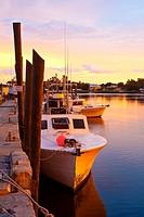 Tarpon Springs, FL - Jul 2010 - Fishing boat along dock at Tarpon Springs, Florida