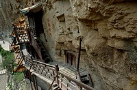 Buddhist Hanging Monastery on the side of Mount Heng in Shanxi, China.
