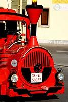 tourist train, walking the streets of Ribadesella, Asturias