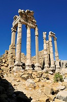 antique roman temple ruin, archeological site of Qalaat Faqra, Lebanon, Middle East, West Asia