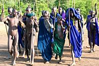 Donga stick fight ceremony, Surma tribe, Tulgit, Omo river valley, Ethiopia