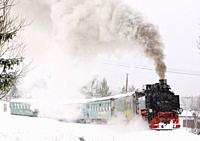 steam train, Oberwiesenthal - Cranzhal Fichtelbergbahn, Germany