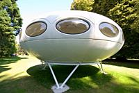 A Futuro house on display at the Christchurch Botanic Gardens New Zealand