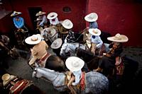 Mexican charros attend at the National Charro Championship in Pachuca, Hidalgo State, Mexico. Escaramuzas are similar to US rodeos, where female compe...