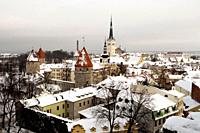 Snowy roofs in Tallinn´s old town Christmas in Tallinn Estonia