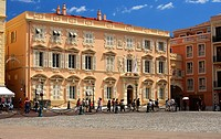 Hitsorical buildings around the Palace Square in the heart of the old town of Monaco-Ville, Principality of Monaco