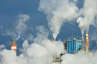 smoke produced by the smokestacks of a paper mill in Montanana, Saragossa, Aragon, Spain
