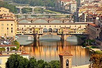 Ponte Vecchio Covered Bridge Arno River Reflection Florence Italy Bridge is the oldest bridge in Florence built in 1345 by Neri di Fioravante from Mic...