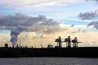 Cranes and Steelworks, Port Talbot, South Wales, UK.
