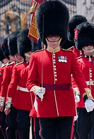 Coldstream guards at the gates of Buckingham palace, London