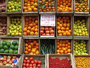 A Greengrocers Fruits and Vegetables display , Montevideo Ciudad Vieja district, Uruguay, South America