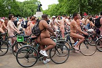 """UNITED KINGDOM - ENGLAND LONDON HYDE PARK Naked people riding their bicycles on formation at Hyde Park while participating at the """"world naked bike ri..."""