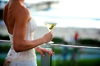 Bride holding Martini glass