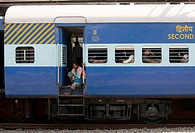 Close up of Second Class Railway Carriage at Ernakulam Station,Cochin,India