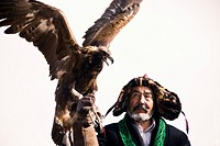 Eagle-Hunters at the Bayan-Olgii eagle hunting festival  Western Mongolia