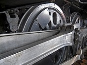 Driver wheels on a steam locomotive on display at Union Station, Los Angeles, California