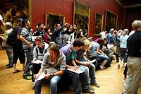 Students and tourists, Louvre Museum, Paris, France