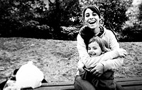 Mother and daughter laughing