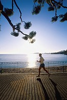 Man jogging. Beaulieu sur mer, Alpes-Maritimes, French Riviera, Provence-Alpes-Cote d´Azur, France