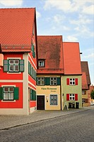 Dinkelsbühl, Bavaria, Germany, Europe  Traditional Bavarian architecture in medieval old town on the Romantic Road Romantische Strasse