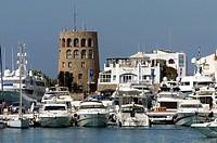 Round Control Tower overlooking Puerto Banus Marina, Puerto Banus, Costa Del Sol, Andalucia, Spain, Europe