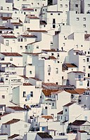 Houses seem to tumble down a steep hillside as if imitating a cubist painting, in the village of Casares, on the edge of the Sierra de Bermeja near Es...