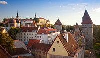 Towers of Old Medieval Tallinn City Skyline in Estonia