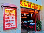 Paris, France, Chinese Restaurant, All-You-Can-Eat Buffet, Sign