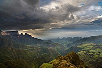 Landscape in the Simien Mountains National Park  AFter sunset at the escarpment near Chennek with a view of the escarpment, the peaks of Inatye and Im...