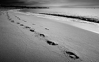 Footprints in the sand on the beach, Mataro, Catalonia, Spain