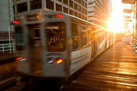A train in the Chicago rapid transit system known as the´L´ arrives in a station in the LOOP in Chicago, IL, USA