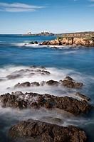 Coastal view towards Piedras Blancas lighthouse, San Simeon, California