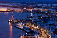 Ostseebad Travemuende at night, Winter, Schleswig-Holstein, Germany, Europe