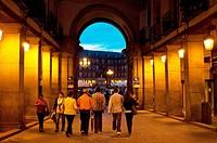 People going towards Plaza Mayor, Madrid, Spain