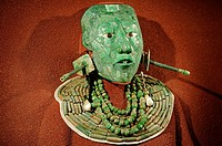 Jade death mask of Mayan king Pacal Maya Culture. The National Museum of Anthropology Museo Nacional de Antropología. Mexico city capital. Mexico.