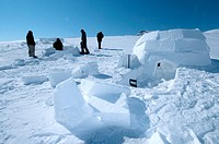 Young men from the community of Pond Inlet learning to build igloos, without these vital survival skills to build a shelter from scratch many would no...