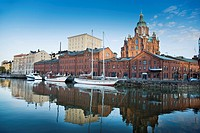 In the Katajanokka island is located the Orthodox Cathedral, inheritance of the Russian domination age  Helsinki, Uusimaa, Finland, Europe